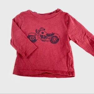 """Red """"motorcycle"""" long sleeve shirt"""